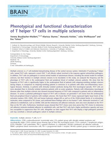 Phenotypical and functional characterization of T helper 17 ... - Brain