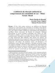 A influência da educação ambiental no comportamento da ...