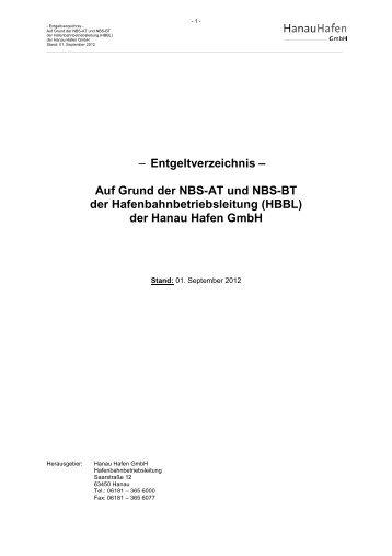 Entgeltverzeichnis Bahn - Hanau Hafen GmbH