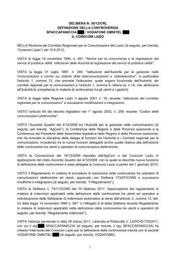 Delibera 30/12/CRL - Corecom Lazio