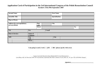 Application Card of Participation in the 3rd International Congress of ...