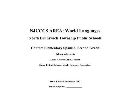 Elementary Grade 2 Spanish Curriculum (pdf) - North