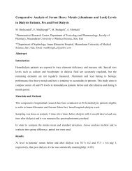 Comparative Analysis of serum Heavy Metals as Aluminum & lead ...