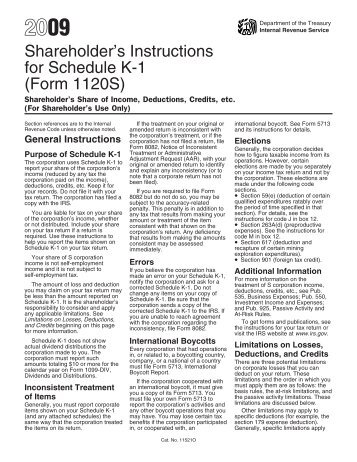 2009 Instruction 1120-S Schedule K-1 - Internal Revenue Service