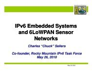 IPv6 Embedded Systems and 6LoWPAN Sensor Networks - Rocky ...