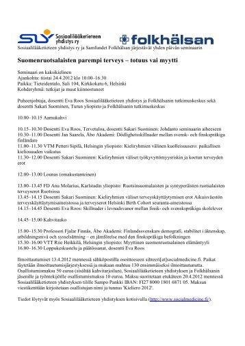 Suomenruotsalaisten parempi terveys – totuus vai myytti - Folkhälsan