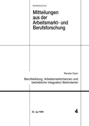 Berufsbildung, Arbeitsmarktchancen und betriebliche Integration - IAB