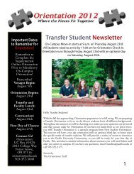Transfer Student Newsletter Important Dates To ... - Pacific University
