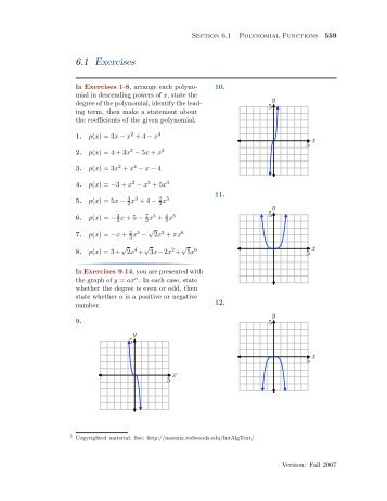 Chapter 6: Exercises with Answers (all sections combined)