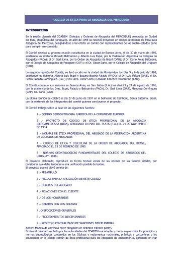 CODIGO DE ETICA PARA LA ABOGACIA DEL MERCOSUR - DHnet