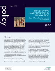 repositioning family planning in burkina faso - Health Policy Project