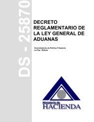 DECRETO REGLAMENTARIO DE LA LEY GENERAL DE ADUANAS