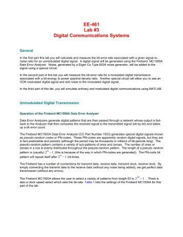 EE-461 Lab #3 Digital Communications Systems - Capitol College ...