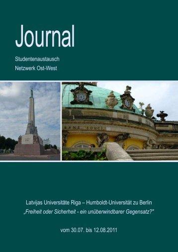Journal Riga 2011 - Netzwerk Ost-West