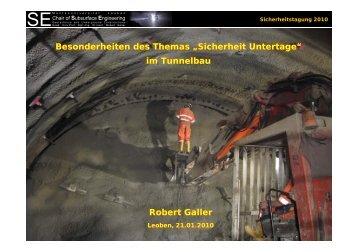 """Besonderheiten des Themas """"Sicherheit Untertage"""" im Tunnelbau ..."""