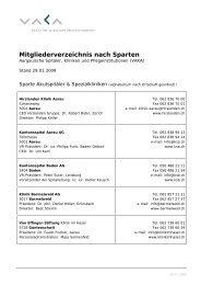 Mitgliederverzeichnis nach Sparten - VAKA