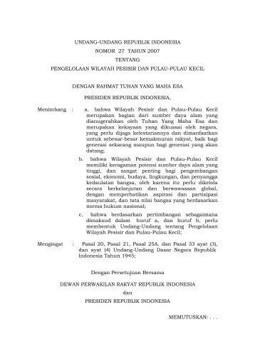 Undang-Undang No.27 Tahun 2007 - BNPB