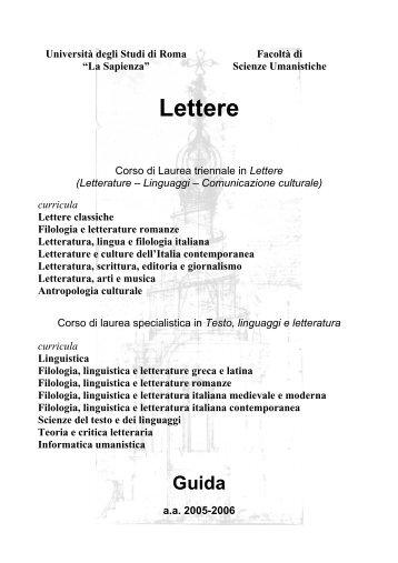 Lettere - Facoltà di Scienze Umanistiche - Sapienza