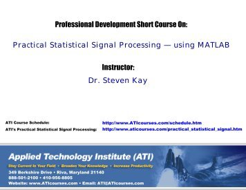 Practical Statistical Signal Processing using MATLAB - Applied ...