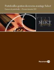 Portefeuilles gestion du revenu avantage Select - CI Investments