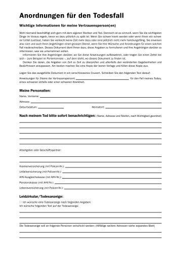 Anordnungen für den Todesfall - Kirche Koppigen