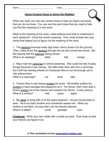 Worksheet On Context Clues