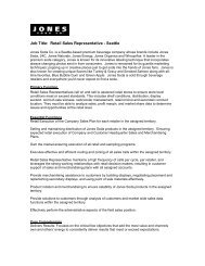 Job Title: Retail Sales Representative - Seattle - Jones Soda