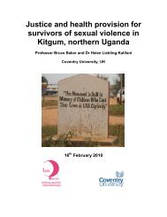 Justice and health provision for survivors of sexual violence in ...