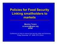 Policies for Food Security Linking smallholders to markets