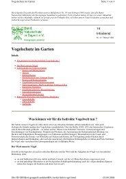 Vogelschutz im Garten - Kreisgruppe Landshut des Bund Naturschutz