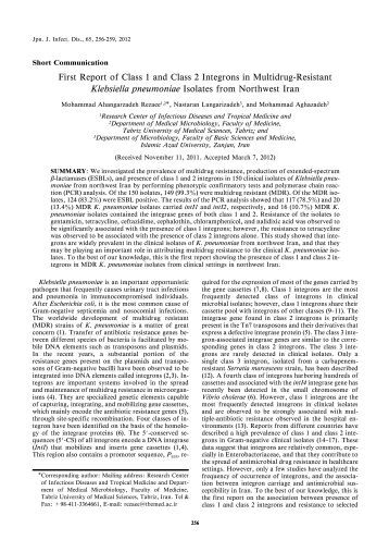 First Report of Class 1 and Class 2 Integrons in Multidrug-Resistant ...