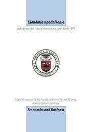 číslo 1/2011 - Paneurópska vysoká škola