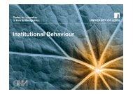 Institutional Behaviour