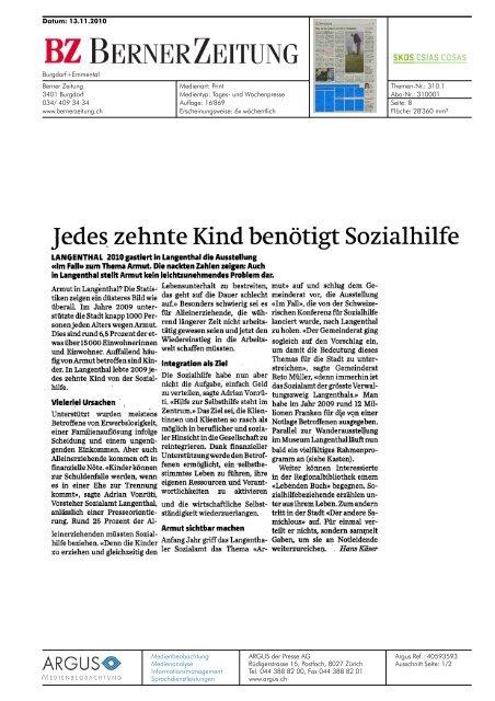 in Langenthal: Jedes zehnte Kind benötigt Sozialhilfe ... - Im Fall