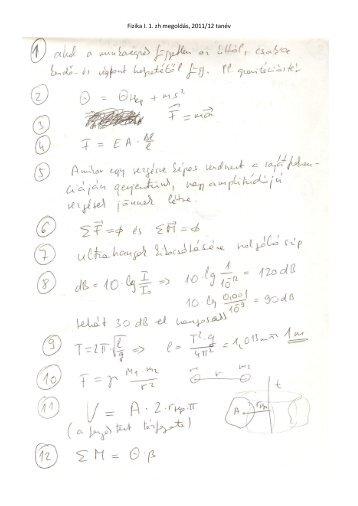 Fizika I. 1. zh megoldás, 2011/12 tanév