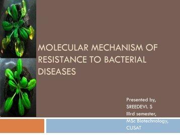molecular mechanism of resistance to bacterial diseases - (CUSAT ...