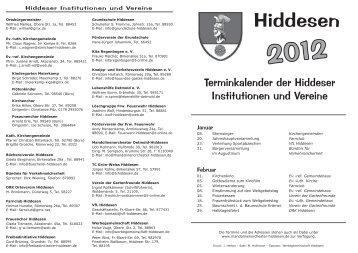 Terminkalender der Hiddeser - Werbegemeinschaft Hiddesen e.V.