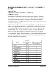 temperature effects on dissolved oxygen in water - Westminster