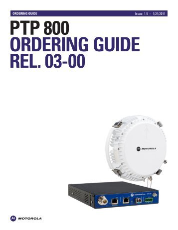 PTP 800 Ordering Guide - Wireless Network Solutions