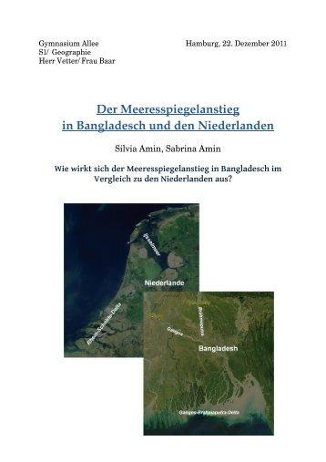 Der Meeresspiegelanstieg in Bangladesch und den Niederlanden