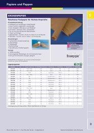 Lagersortiment Verpackungspapiere und Pappen