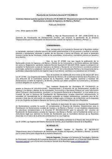 Disposiciones para la Fiscalización de Declaraciones Juradas de