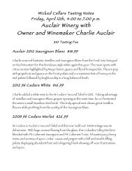 Friday, April 12th, Auclair Winery Tasting Notes