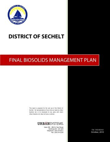 Final Biosolids Management Plan - October 2010 - District of Sechelt