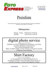 Preisliste digital photo service Shirt Factory - Foto Express