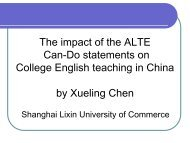 The impact of the ALTE Can-Do statements on College English ...
