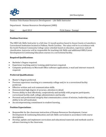 job description south piedmont community college - Production Associate Job Description