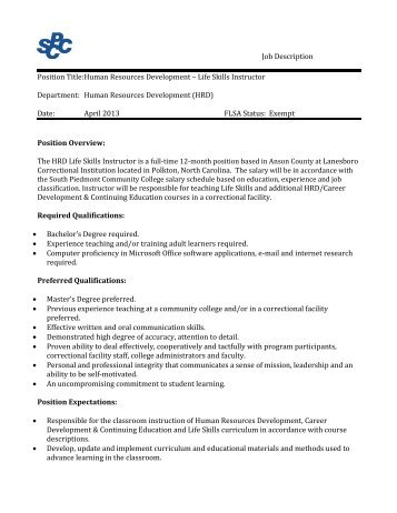 job description south piedmont community college. Resume Example. Resume CV Cover Letter