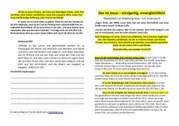 Gedanken zur Anbetung Jesu - Gebet zum Ausdrucken - Helmut Blatt