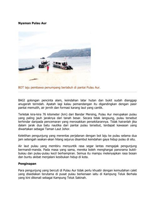 Nyaman Pulau Aur BOT laju pembawa penumpang berlabuh di ...